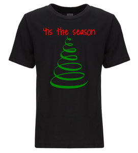 black tis the season youth kids Christmas t shirt