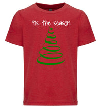 Load image into Gallery viewer, red tis the season youth kids Christmas t shirt
