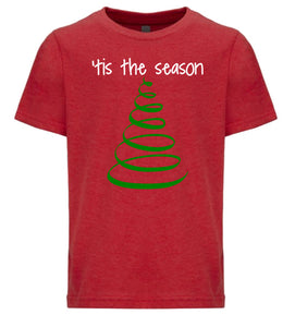 red tis the season youth kids Christmas t shirt