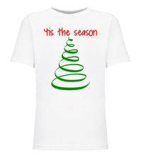 Load image into Gallery viewer, white tis the season youth kids Christmas t shirt