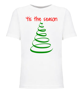 white tis the season youth kids Christmas t shirt