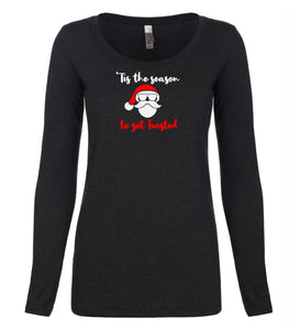 black twisted long sleeve women's Christmas t shirt