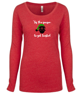 red twisted long sleeve women's Christmas t shirt