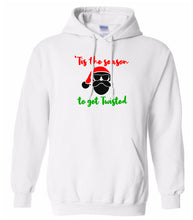 Load image into Gallery viewer, white season to get twisted Christmas hooded sweatshirt