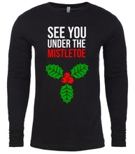 Load image into Gallery viewer, black under the mistletoe Christmas shirt for Men