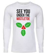 Load image into Gallery viewer, white under the mistletoe Christmas shirt for Men