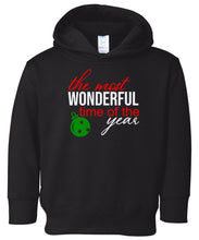 Load image into Gallery viewer, black most wonderful time hooded toddler Christmas sweatshirt