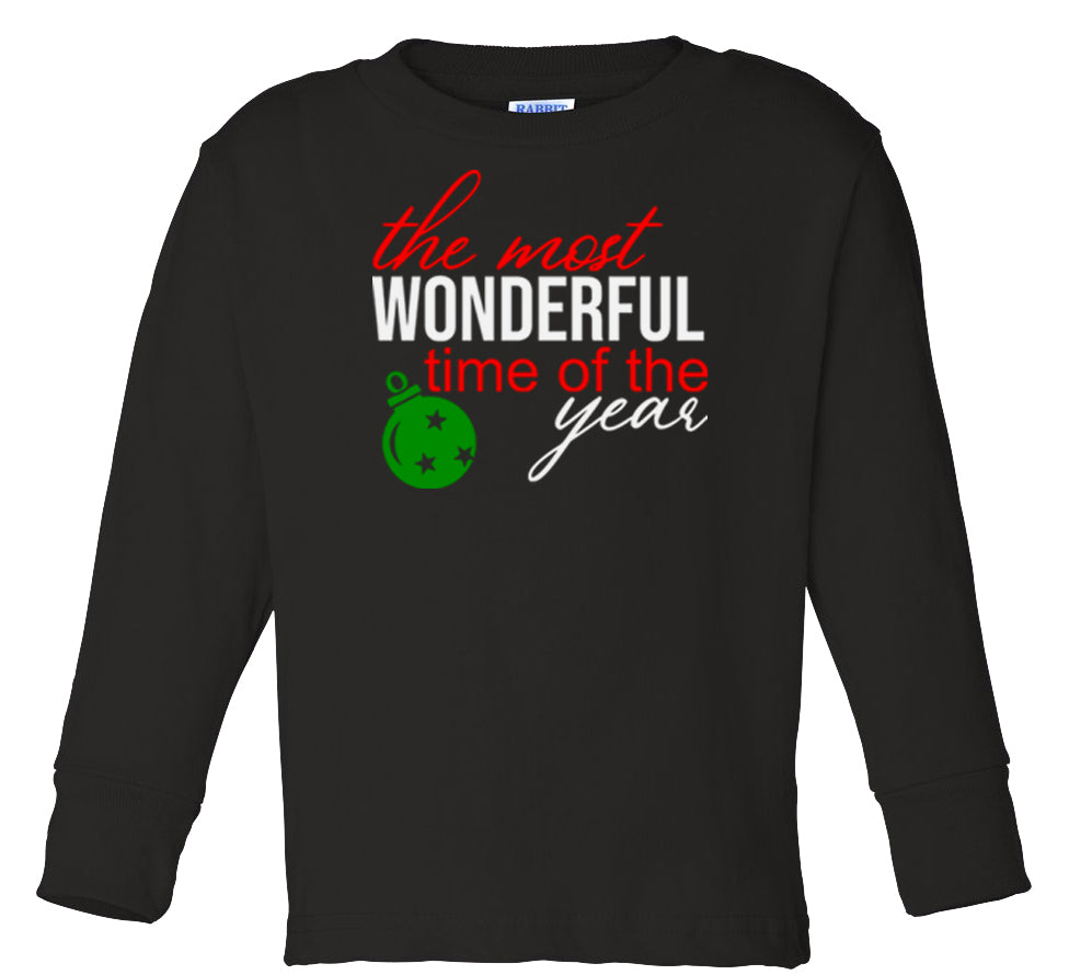 black wonderful time long sleeve toddler Christmas t shirt