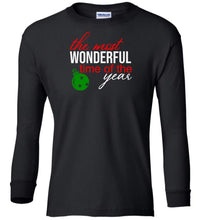 Load image into Gallery viewer, black wonderful time of year Christmas long sleeve t shirt
