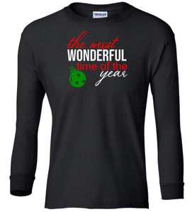black wonderful time of year Christmas long sleeve t shirt