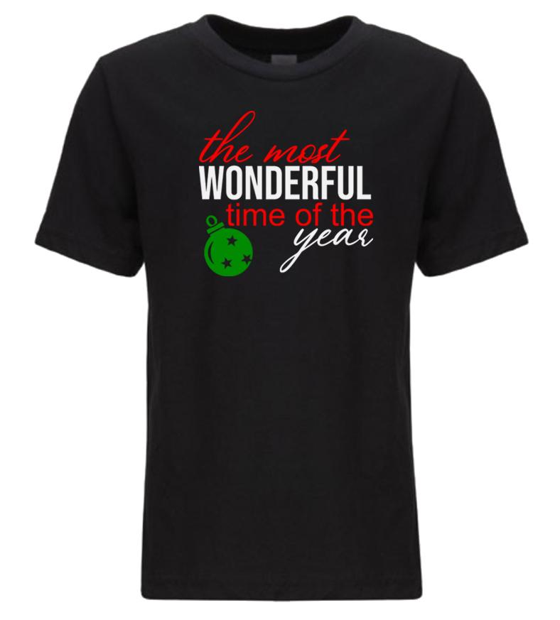 black most wonderful time youth kids Christmas t shirt