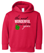 Load image into Gallery viewer, red most wonderful time hooded toddler Christmas sweatshirt