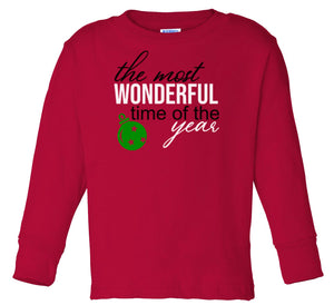 red wonderful time long sleeve toddler Christmas t shirt