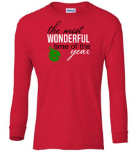 Load image into Gallery viewer, red wonderful time of year Christmas long sleeve t shirt