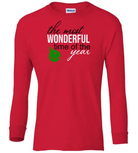 red wonderful time of year Christmas long sleeve t shirt
