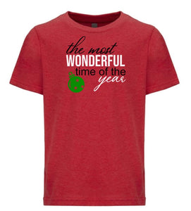 red most wonderful time youth kids Christmas t shirt