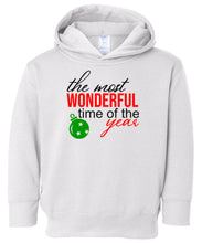 Load image into Gallery viewer, white most wonderful time hooded toddler Christmas sweatshirt