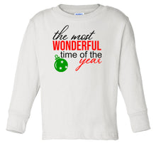 Load image into Gallery viewer, white wonderful time long sleeve toddler Christmas t shirt