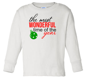 white wonderful time long sleeve toddler Christmas t shirt