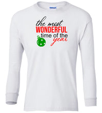 Load image into Gallery viewer, white wonderful time of year Christmas long sleeve t shirt