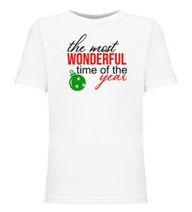 white most wonderful time youth kids Christmas t shirt