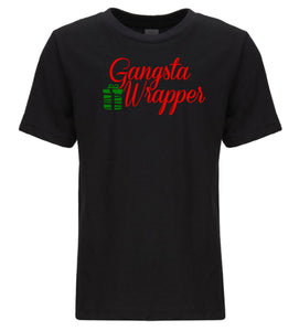 black gangsta wrapper youth kids Christmas t shirt