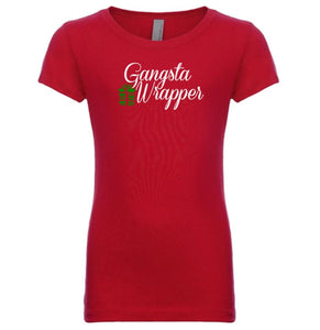 red gangsta wrapper youth girl Christmas T Shirt