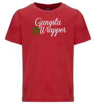 Load image into Gallery viewer, red gangsta wrapper youth kids Christmas t shirt