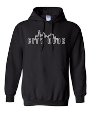 Load image into Gallery viewer, black city dude hoodie