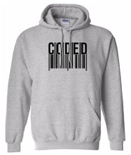 Load image into Gallery viewer, grey coded pullover hoodie