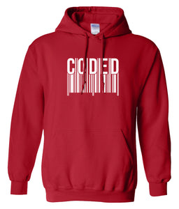red coded hoodie