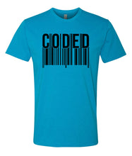 Load image into Gallery viewer, turquoise coded crewneck t shirt