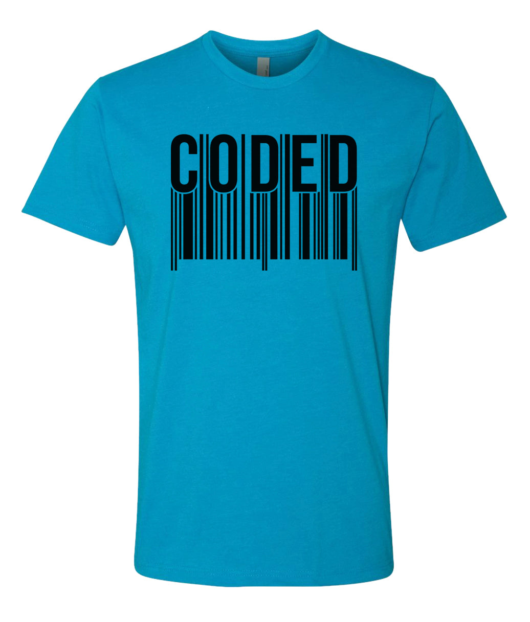 turquoise coded crewneck t shirt