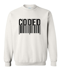 white coded sweatshirt