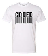 Load image into Gallery viewer, white coded crewneck t shirt