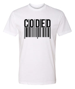 white coded crewneck t shirt
