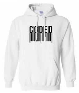 white coded hoodie
