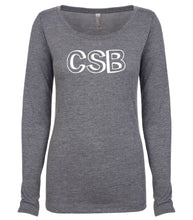 Load image into Gallery viewer, grey CSB long sleeve scoop shirt for women