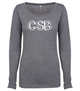 grey CSB long sleeve scoop shirt for women