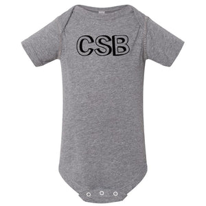 grey CSB onesie for babies