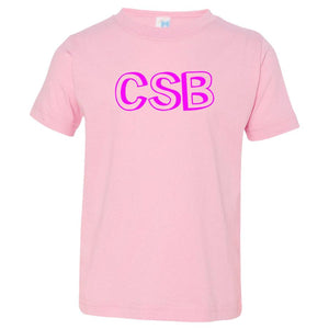 pink CSB crewneck t shirt for toddlers