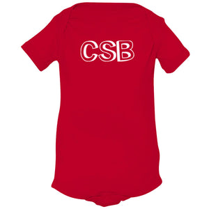 red CSB onesie for babies