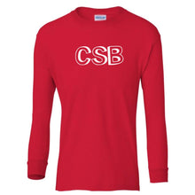 Load image into Gallery viewer, red CSB youth long sleeve t shirt for boys