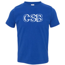 Load image into Gallery viewer, blue CSB crewneck t shirt for toddlers