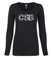 Load image into Gallery viewer, black CSB long sleeve scoop shirt for women