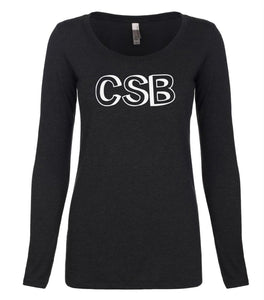 black CSB long sleeve scoop shirt for women