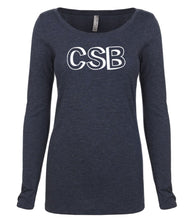 Load image into Gallery viewer, navy CSB long sleeve scoop shirt for women