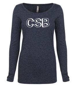 navy CSB long sleeve scoop shirt for women