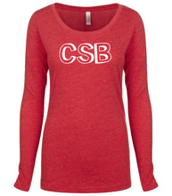 Load image into Gallery viewer, red CSB long sleeve scoop shirt for women