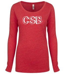 red CSB long sleeve scoop shirt for women